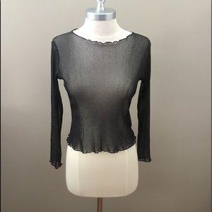Brandy Melville Black/Silver Sheer Long Sleeve Top